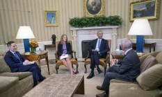 O presidente Barack Obama se reuniu nesta sexta-feira com representantes da área de saúde na Casa Branca Foto: Pablo Martinez Monsivais / AP
