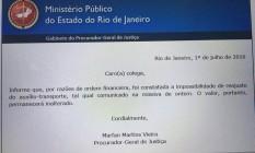 Comunicado cancelando aumento de benefício chegou aos servidores nesta sexta-feira Foto: Divulgação