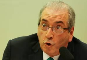 O presidente da Câmara dos Deputados afastado, Eduardo Cunha (PMDB-RJ) Foto: Michel Filho / Agência O Globo / 18-5-2016