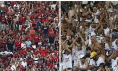 Torcidas de Flamengo e Corinthians em fotos de arquivo Foto: O Globo