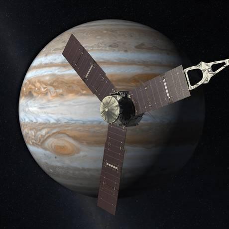 Ilustração da Nasa mostra a sonda Juno se aproximando de Júpiter Foto: Nasa/JPL