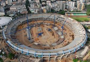Vista aérea do estádio do Maracanã durante obras para a Copa de 2014 Foto: Genilson Araújo / 22-02-2012