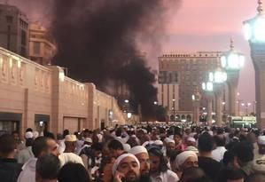 Explosão foi registrada perto de mesquita em Medina Foto: Twitter / Reprodução