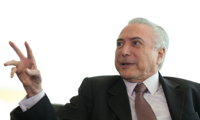 O presidente Interino Michel Temer no Palácio do Planalto Foto: ANDRE COELHO / Agência O Globo