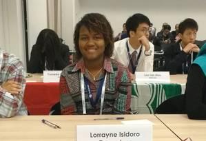 Lorrayne Isidoro na Olimpíada de Neurociências, em Copanhaguen, Dinamarca Foto: Reprodução do Facebook