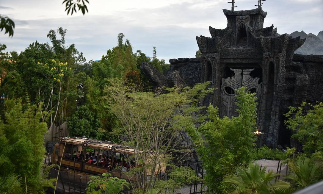 No Universal Orlando Resort, o principal destaque é Skull Island: Reign of Kong, simulador inspirado em King Kong e sua ilha natal Foto: Marco Antônio Rezende / O Globo
