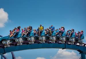 Detalhe da Mako, a maior e mais rápida montanha-russa de Orlando, inaugurada em junho no SeaWorld. O carrinho chega a uma velocidade de 118 km/h Foto: Divulgação