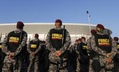 Apronto operacional da Força Nacional de Segurança Pública na Arena da Barra Foto: Domingos Peixoto / Agência O Globo