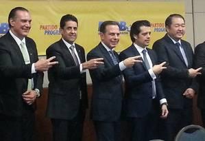 João Doria recebe líderes de partidos aliados para anúncio da adesão do PP à sua candidatura para a eleição em São Paulo Foto: Agência O Globo / Silvia Amorim