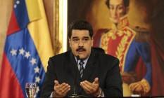 Nicolás Maduro faz discurso no Palácio de Miraflores, em Caracas Foto: HANDOUT / REUTERS