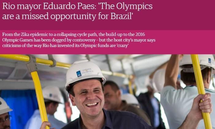 Paes no Guardian Foto: Reprodução