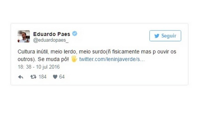 Paes responde a internauta no Twitter Foto: Reprodução