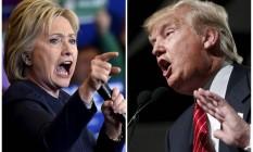 Montagem de fotos mostra os pré-candidatos Hillary Clinton e Donald Trump Foto: STAFF / REUTERS