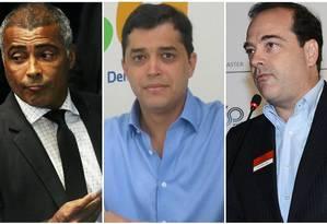 Romário, Índio da Costa e Carlos Osório são os pré-candidatos com maior patrimônio Foto: Montagem