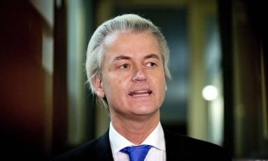 Geert Wilders, do Partido da Liberdade, da Holanda, pediu a proibição do Islã Foto: VALERIE KUYPERS / AFP