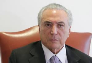 O presidente interino, Michel Temer Foto: Eraldo Peres / AP / 15-7-2016