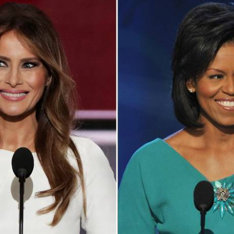 Trechos dos discursos de Melania na convenção republicano são muito semelhantes aos de Michelle em 2008 Foto: AFP