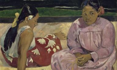 Detalhe de 'Mulheres do Taiti' (1891), óleo sobre tela de Paul Gauguin, uma das obras da exposição 'O triunfo da cor' Foto: Divulgação