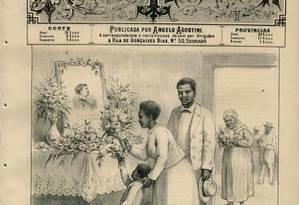 Ex-escravos fazem reverência à Princesa Isabel com camélias em ilustração de Angelo Agostini