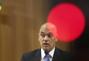 O ministro da Justiça, Alexandre de Moraes, durante entrevista: dez suspeitos de terrorismo presos Foto: André Coelho / O Globo