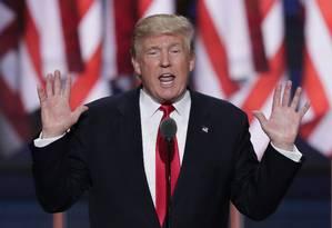 Donald Trump discursa no último dia da Convenção Nacional Republicana, em Cleveland Foto: J. Scott Applewhite / AP