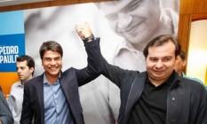 Rodrigo Maia participou de ato de anúncio de apoio do DEM à candidatura do deputado Pedro Paulo (PMDB) à Prefeitura do Rio Foto: Tarso Ghelli/ Divulgação