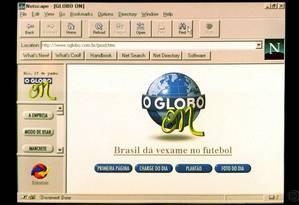 Especial - 28/07/2015 - Rio de Janeiro - RJ - Página do Globo na internet em 1996 Foto: Reprodução