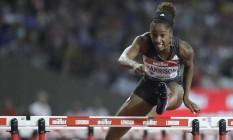 Kendra Harrison bateu o recorde mundial nos 100m com barreiras na Liga Diamante em Londres Foto: Matt Dunham / AP