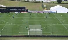 O campo da seleção na Granja Comary desenhando como se fosse a bandeira do Brasil Foto: Divulgação/CBF