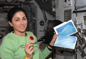 ARTISTA EM ÓRBITA. Nicole Stott com pequenas telas feitas durante sua primeira viagem ao espaço, em agosto de 2009, e, abaixo, outras obras da astronauta americana Foto: Fotos de divulgação/ NASA