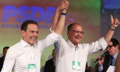 Convenção municipal do PSDB confirmou João Doria como condidato à prefeitura de SP. Na foto, João Doria com governador Geraldo Alckmin Foto: Marcos Alves / Agência O Globo