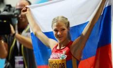 Darya Klishina, único nome do atletismo da Rússia que foi autorizado a competir no Rio: país pode perder mais de 15 medalhas na modalidade Foto: JONATHAN NACKSTRAND / AFP