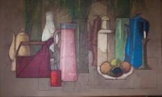 """Composição. """"Natureza morta com jarra rosa etc"""", de 1985: frutas e objetos de metalurgia Foto: Reprodução"""