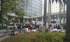 Tapumes de metal impedem a entrada dos manifestanes Foto: Aline Macedo