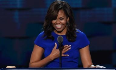 A primeira-dama discursa no primeiro dia da convenção democrata Foto: SAUL LOEB / AFP