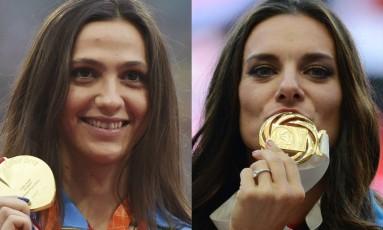 Mariya Kuchina e Yelena Isinbayeva campeãs que estão fora do Rio-2016 Foto: AFP