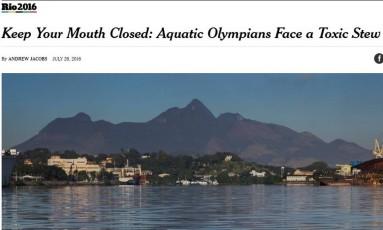 """Página do """"NYT"""" aconselha atletas de provas aquáticas a manterem a boca fechada Foto: Reprodução"""