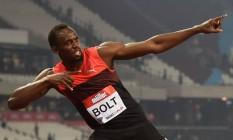 O corredor Usain Bolt durante competição em Londres Foto: BEN STANSALL / AFP