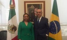 José Serra se reúne com a chanceler mexicana Claudia Ruiz Massieu Foto: Reprodução internet