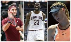 Ausências importantes na Olimpíada do Rio: Roger Federer, por lesão; LeBron James, desistência por motivo pessoal; e Maria Sharapova, suspensa por doping Foto: Agências internacionais