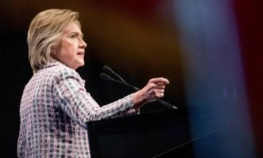 Hillary Clinton foi oficialmente escolhida como candidata democrata na corrida à Casa Branca Foto: Andrew Harnik / AP