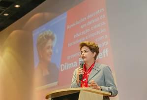 A presidente afastada dilma Rousseff, em ato em São Bernardo do Campo (SP) Foto: Divulgação 18/07/2016