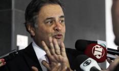 O senador Aécio Neves (PSDB-MG), presidente nacional do partido, durante entrevista no Palácio do Planalto Foto: Givaldo Barbosa / O Globo
