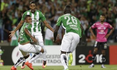 Miguel Borja marcou o gol da vitória do Nacional sobre o Independiente del Valle na final da Libertadores em Medellin Foto: Dolores Ochoa / AP