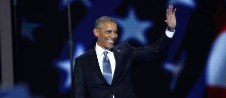 Obama chega à Convenção Democrata, em Filadélfia Foto: MARK KAUZLARICH / REUTERS