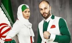 Novo traje para cerimônia de abertura traz as cores da bandeira iraniana Foto: Reprodução Twitter