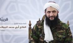 Chefe da Frente al-Nusra, que passará a se chamar Frente para Conquista da Síria, fez seu primeiro pronunciamento gravado Foto: Reprodução
