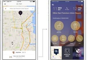 Parceria. Os aplicativos do Uber e do grupo Hilton agora se comunicam Foto: Fotos de divulgação