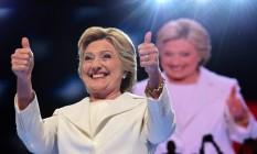 Hillary Clinton, na Convenção do Partido Democrata, em Filadélfia Foto: ROBYN BECK / AFP