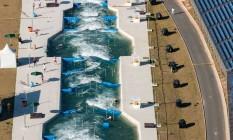 Vista aérea do estádio de canoagem em Deodoro Foto: YASUYOSHI CHIBA / AFP